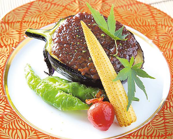 折戸茄子の鶏味噌焼き