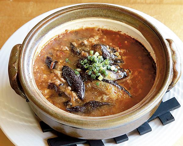 土鍋式ナスとひき肉の炒め物